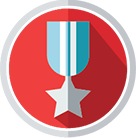 Icon showing a medal on a ribbon