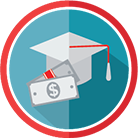 Icon showing a graduation cap and money